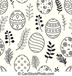Easter seamless pattern with black eggs and flowers on white background