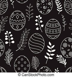 Easter seamless pattern with white eggs and flowers on black background