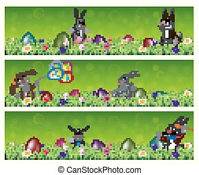 Easter three banners set with easter eggs and happy bunnies in a grass field