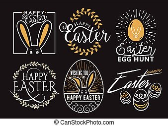 Vector illustration of Easter wishes logo, labels design set...