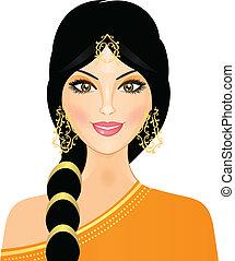 eastern girl in orange - Vector illustration of eastern girl...