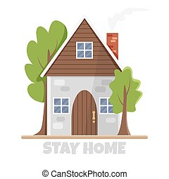 Vector illustration of eco-house in flat style