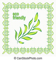 Vector illustration of ecology concept with glossy green leaves
