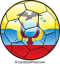 Ecuador flag on soccer ball - vector illustration of Ecuador...