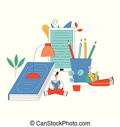 Vector illustration of education and reading concept in flat style.