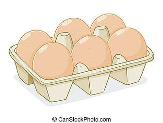 Vector Illustration of Eggs In a Carton