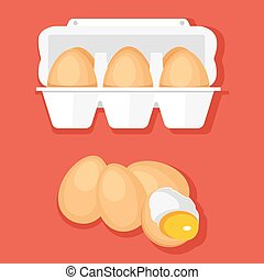 Vector illustration of eggs in container