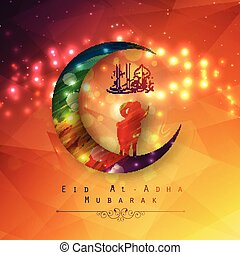 Eid Al Adha background design with colorful moon and sheep -...