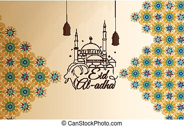 Eid al-Adha greeting card - Vector illustration of Eid...