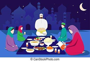 Vector illustration of Eid Al Fitr Mubarak, Muslim traditional holiday
