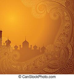 vector illustration of Eid ka chand Mubarak (Wish you a Happy Eid Moon ) background with Islamic mosque