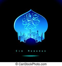 Eid Mubarak background with mosque silhouettes