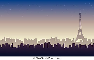 Vector illustration of eiffel tower landscape