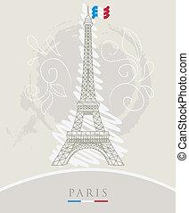 Eiffel tower - Vector illustration of Eiffel tower