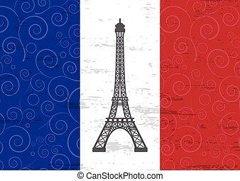 vector illustration of eiffel tower against France flag