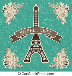 vector illustration of eiffel tower with floral elements