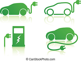 Vector illustration of electric powered car and charging point icons