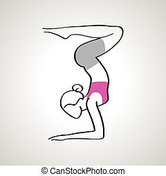 Vector illustration of elegance woman in yoga pose silhouette