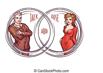 Vector illustration of elegant man and women
