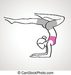 Vector illustration of elegant woman in yoga pose silhouette