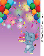 Elephant cartoon holding birthday c