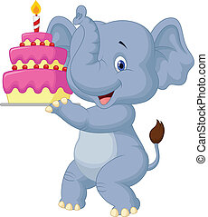 Elephant cartoon with birthday cake
