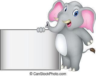 elephant cartoon with blank sign