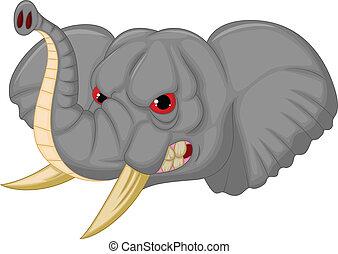 Elephant head mascot cartoon charac