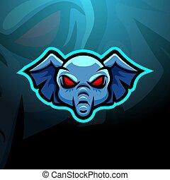 Elephant head mascot esport logo design