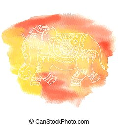 Vector illustration of elephant in ethnic style.