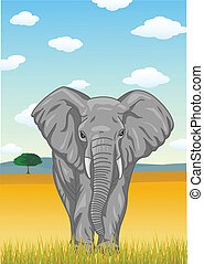 Elephant with African savannah back - Vector Illustration Of...