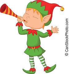 Elf cartoon with trumpet
