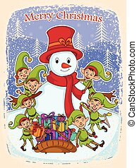 Elf with Snowman and gift for Merry Christmas