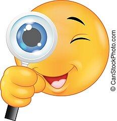 Emoticon cartoon holding a magnifyi