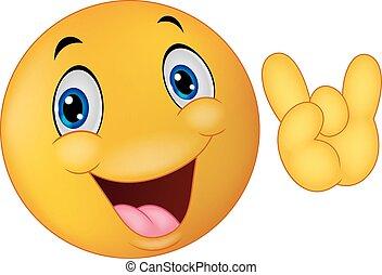 Emoticon smiley cartoon giving hand