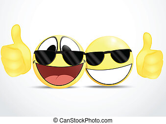 Emoticon Wearing Glasses with Thumb