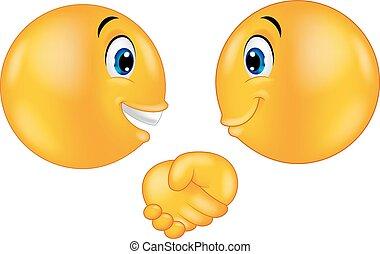 Emoticons cartoon shaking hands - Vector illustration of ...