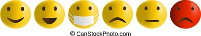Vector illustration of emoticons depict in an antiviral mask...