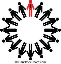 employees and manager - Vector illustration of employees and...