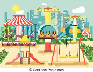 Vector illustration of empty amusement park outdoor with swings, chain or horses carousels, carnival fair roller coaster, entertainment and recreation, extreme rest in flat style