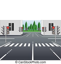 Vector illustration of empty city street