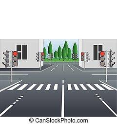 empty city street - Vector illustration of empty city street