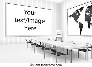 Vector illustration of empty meeting room or board room with...