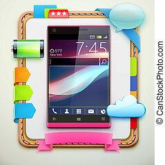 modern cellphone - Vector illustration of empty notebook ...