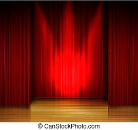 Empty stage with red curtain and spotlight on wooden floor