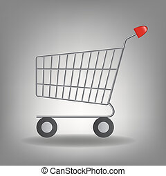 Vector illustration of empty supermarket shopping cart icon ...