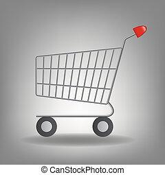 Vector illustration of empty supermarket shopping cart icon isolated on white background.