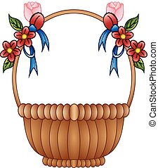 Empty wicker basket with color flowers and blue bows
