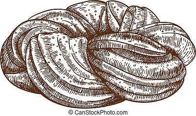 engraving bun on white background