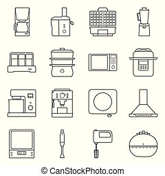 Vector illustration of equipment and domestic symbol. Set of equipment and kitchen stock symbol for web.
